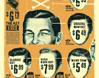 "Vintage Mens Barber Shop Print 12"" x 16"" Matte"