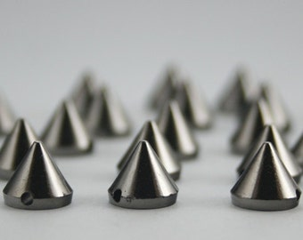 50 pcs Acrylic Plastic Beading Gunmetal Cone Spikes Beads Charms Pendants Decor Fashion Accessories Diy Findings Sizes 8 mm. B3 CH
