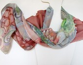 Hand painted silk scarf - dyed on natural habotai silks - pastel color blooms - gift idea -18x72