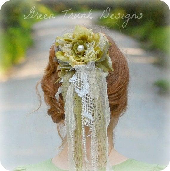 Rustic Wedding Veil Green Floral Wedding Hair Accessories