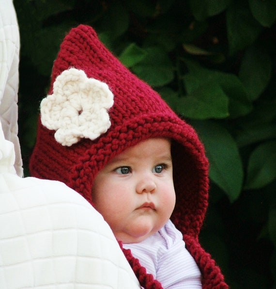 Baby Pixie Hat Red Riding Hood Knit Baby Hat Newborn Knitted Baby Hat Toddler Pixie Hat Baby Girl Clothes 0-3/3-6/6-12/12-24/24-48 months