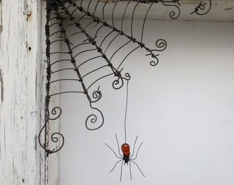 "Czechoslovakian Orange Spider Dangles From 12""  Barbed Wire Corner Spider Web"