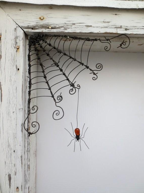 "Czechoslovakian Orange Spider Dangles From 12""  Barbed Wire Corner Spider Web"