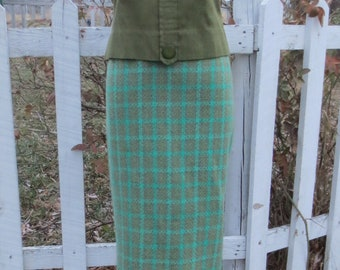 MINT Vintage 1960's Green Plaid Wool GRAFF Californiawear Secretary Pencil Skirt