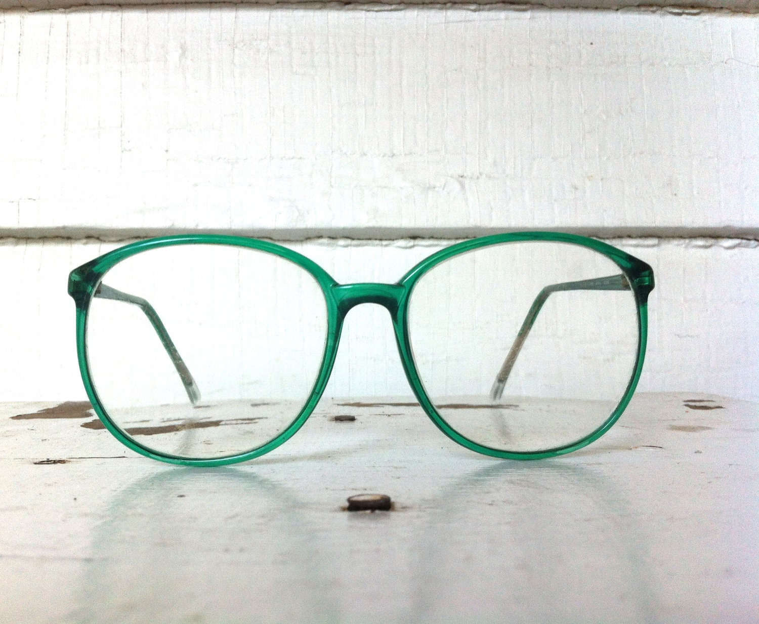 Glasses Frames Green : vintage eyeglasses // vintage oversized green plastic by ...