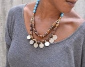 Tibetan Agate beads and Turquoise and Kuchi Coin Bib Necklace