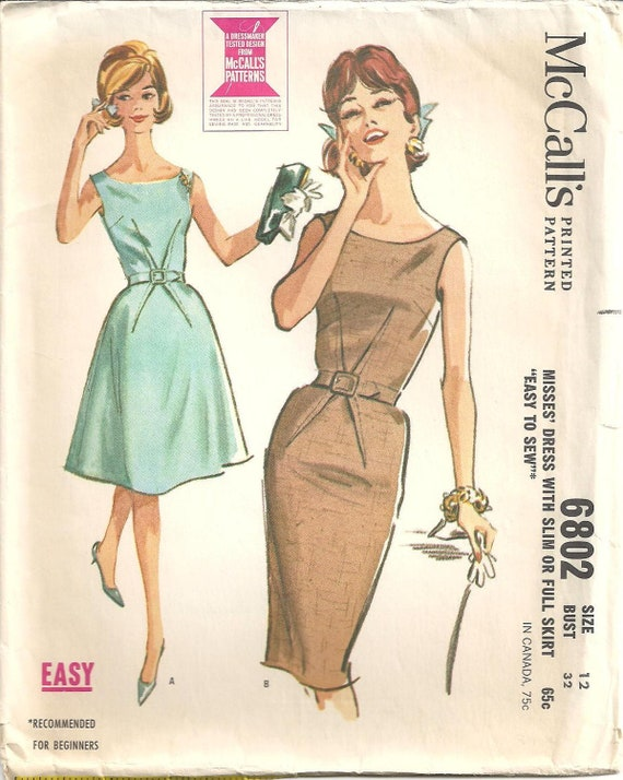1960s Womens Cocktail Dress - McCall's 6802 Vintage Pattern - 32 Bust - Slim or Full Skirt