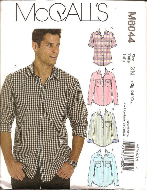 Men's Button Down Shirt - McCall's 6044 Sewing Pattern - XLarge XXLarge XXXLarge 46-56 Chest UNCUT