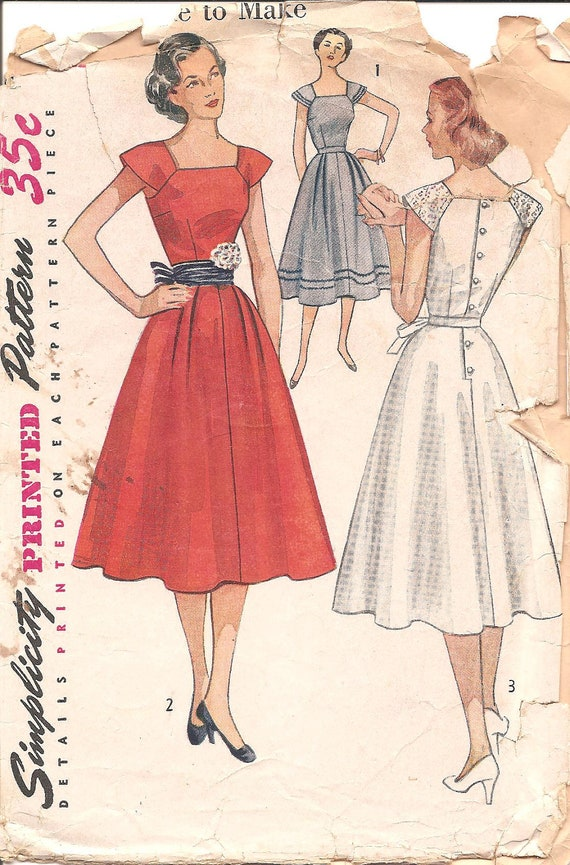 1950s Womens Dress - Simplicity 4288 Vintage Pattern - Bust 32 Size 14