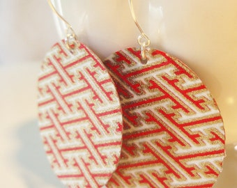 Geometric Tribal Origami, Red and Gold Medium Earrings