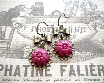 Burgundy Earrings Flower Earrings Burgundy Jewelry Dangle Bow Earrings Maroon Earrings Romantic Earring Dangle Flower Earring Maroon Jewelry