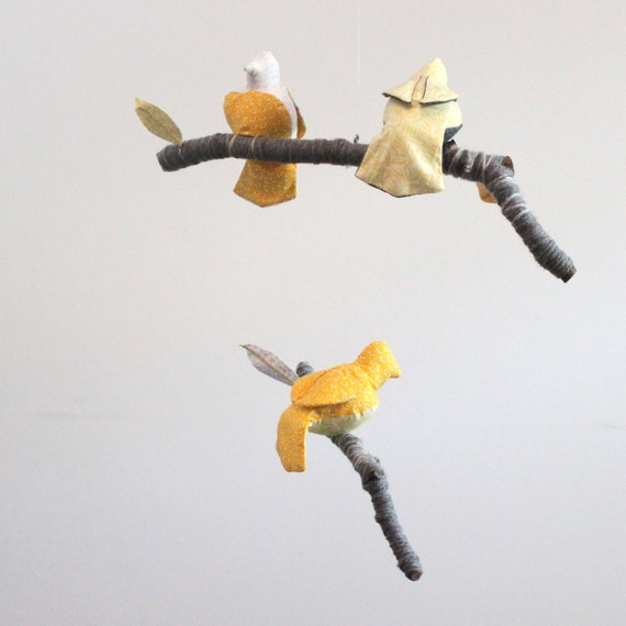 Modern bird mobile - 3 little birds told me - fabric sculpture on yarn wrapped branches in yellow, snow white, and gray