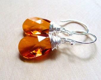 Orange Crystal Earrings, Swarovski Teardrop Pear Crystals, Orange & Pink Sterling Silver Dangle Wire Wrapped Earrings, Autumn, Fall