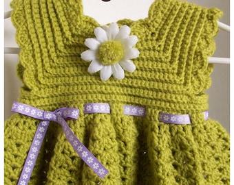 Baby Dress, Slipper Booties, Kiwi with Daisy Flower