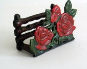 Antique Letter Holder - cast iron, roses, industrial, 1940s, primitive