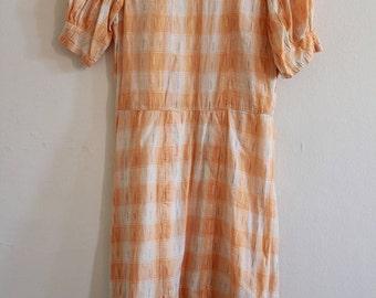 1930s Puff Sleeve Gingham Dress