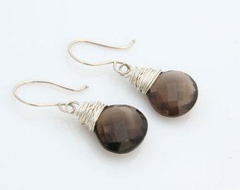 Smoky Quartz Earrings, Quartz Earrings, Brown Gemstone Earrings, Smoky Quartz, Gifts Under 50, Brown Gemstone, Chocolate Brown, Eco Fashion