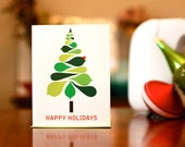 Mod Christmas Tree - Set of 10 Holiday Cards on 100% Recycled Paper
