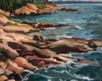 From Rockport, Cape Ann, Massachusetts. 18x24 Oil Painting Landscape, Plein Air Impressionist Seascape on Canvas, Signed Original Fine Art