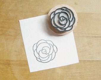 Rose Hand Carved Rubber Stamp