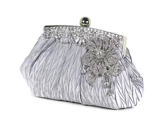 Silver Bridal Clutch Wedding Clutch Vintage Style with Rhinestone Trim and Crystal Flower Accent