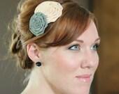Handmade Flower Headband in Nude and Grey, Double Flower Headband for Women and Girls