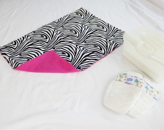 Reversible Zebra and Hot Pink Waterproof Changing Pad - large