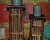 Bamboo Candle Holders Set of 2