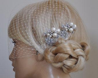 birdcage veil and 2 small bridal combs (3 Items) -  Swarovski Pearls Comb,Wedding combs,bridal headpieces , rhinestone bridal Hair comb