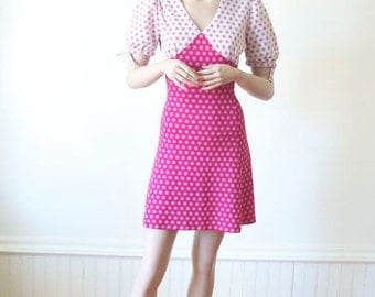 SALE PINK Mini Dress Polka Dot Dress / Baby Doll Dress / Retro Dress