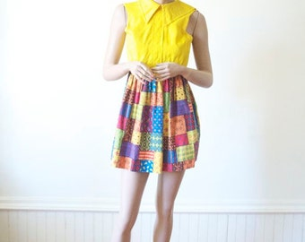 SALE YELLOW DRESS Patchwork Vintage Mini Dress in Sunshine Yellow Quilt Skirt