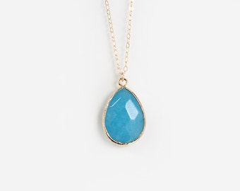Ocean Blue Glass Pendant Necklace - Gold or Silver - Cecilia - SALE
