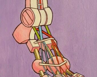 Robot Foot Original Artwork Acrylic Painting 16 x 20