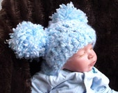 Pastel Blue, Pastel Pink, Pastel Lilac, Pastel Yellow & Lt Mint Green.... Super Chunk  Pom Hats....Boy or Girl Baby.... 0 to 3 month