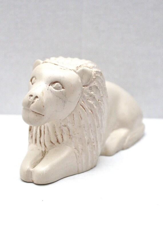 vintage carved white stone lion // made in Kenya