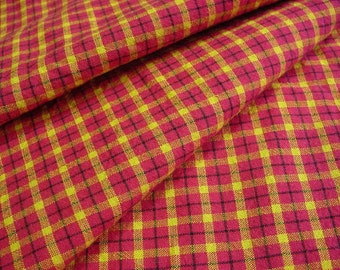1.33 yd Vintage Plaid Homespun Fabric -Red, Yellow, Green Quilt Shop Quality Woven Cotton