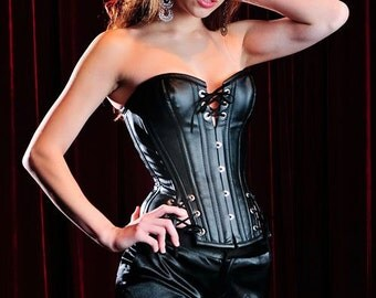 Meschantes Black Vegan Leather Overbust Thunder Corset - Your Size