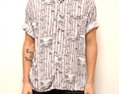 vintage men's SURFER 80s 90s RAYON short sleeve button up shirt