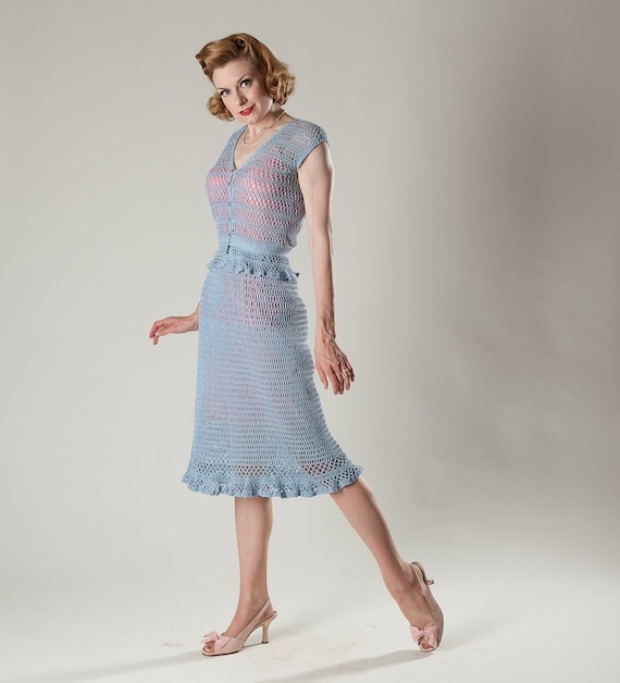 Vintage 1970s Blue Crocheted Dress Two Piece Summer Fashions 1930s Style