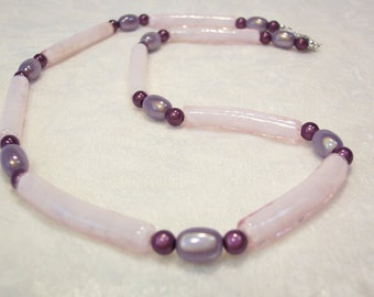 Pink and Purple Glass Noodle Bead Necklace Free US Shipping