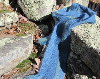 Mens Womens Blue Woven Mohair Fashion Scarf, Rustic Cozy Winter Woodland Cabin Country Accessories, Lightweight Warm Handmade Hygge Scarf