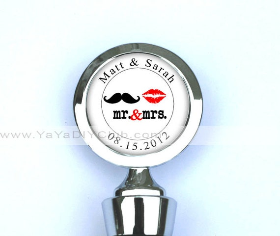 Unique Wedding Favors, Wedding Wine Stopper,Personalized Wine Stopper -  Mustache Lips Party Favors, custom names, date, color