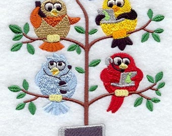 Tech (Geek) Birds in a Tree Tweet Embroidered on WHITE Kitchen or Hand Towel or Quilt Block Square