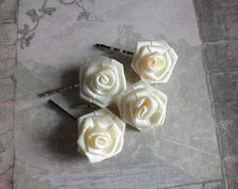 Ivory Flower Bridal Hair Pins, Flower Fascinator, Wedding Bobby Pins, Flower Hair Piece, Bridal Headpiece, Hair Accessories, Wedding Veil