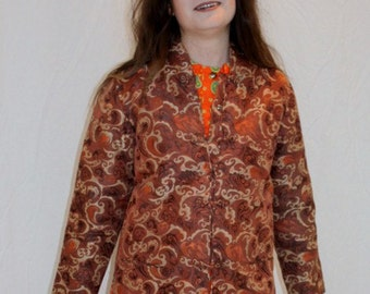Vintage Asian Jacket Earthtone Chinese Orange Browns Silk Brocade Oriental Size Small Traditional Boho Folk Ethnic Retro Vintage Quilted
