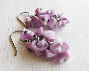 Nickel Free Earrings Violet Shell Earrings Niobium Wire Wrapped Earrings for Sensitive Ears Cascading Hypoallergenic Earrings
