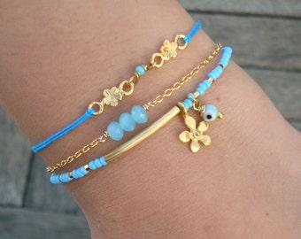 Choose your Color - Evil Eye Beaded Gold Bar Bracelet  - Blue Seed Bead Flower Charm Friendship Bracelet