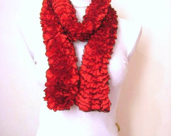 Red Scarf - Red and Black Frilly Scarflette, Neck Tissue, Rag, Neckwarmer, Foulard - Gift for Her - READY TO SHIP