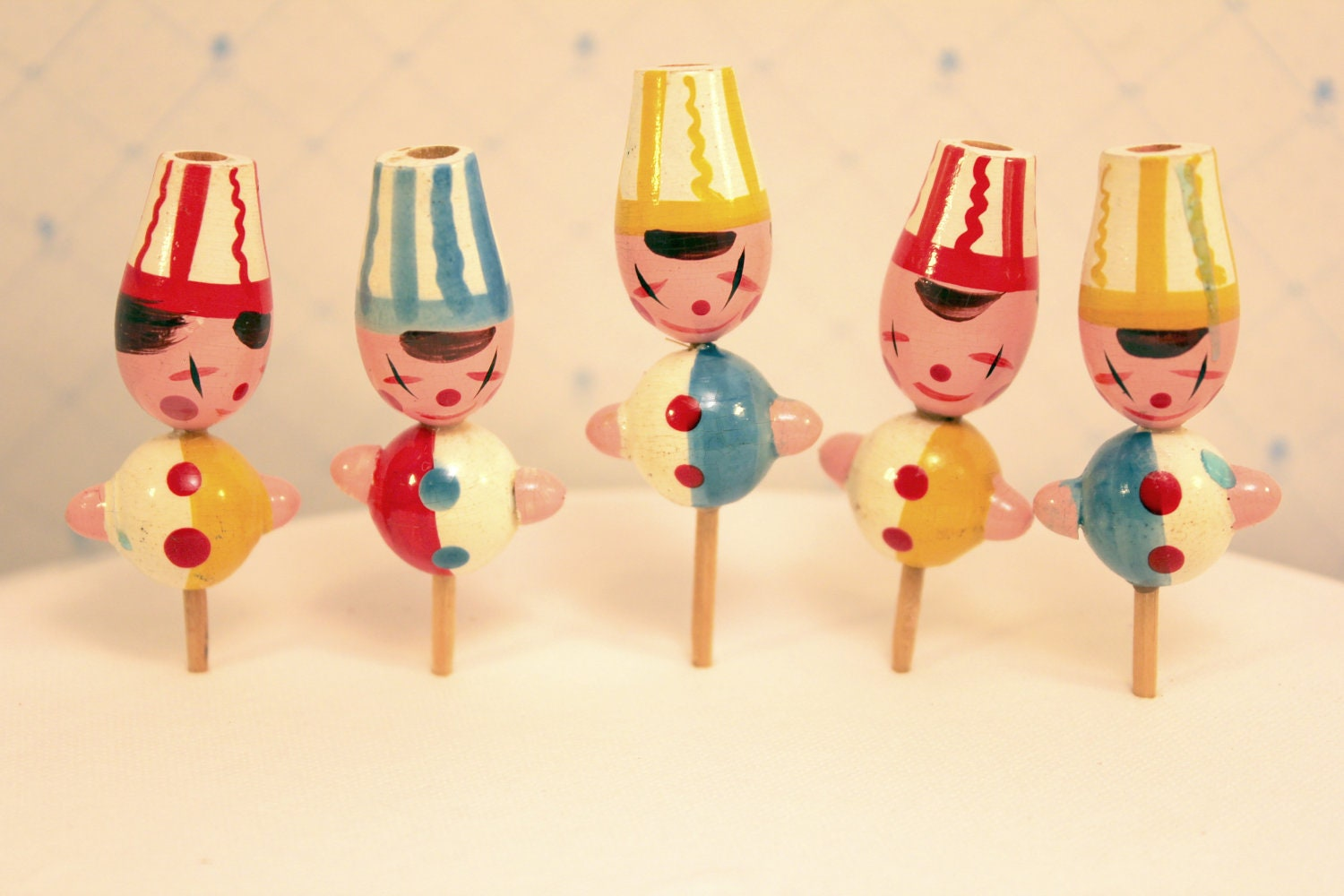 Vintage Birthday Candle Holders Cupcake Toppers Clowns