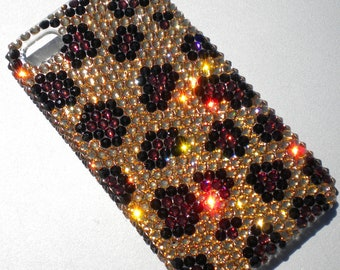 Gold Brown & Black Leopard Animal Print Design Crystal Rhinestone BLING Back Case for iPhone 4 4S handmade using 100% Swarovski Elements